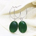 New fashion green jade jasper oval dangle earrings free shipping factory outlet pretty eardrop earbob women jewelry13*18mm B1774
