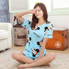 Wholesale New Women Pajamas Suits Indoor Cartoon Clothing Home Suit Sleepwear Short Sleeve Pyjamas Sets Young Girl Pijamas Mujer