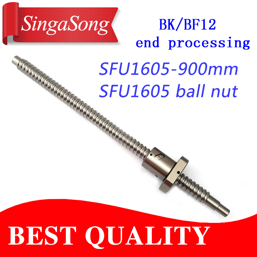 16mm 1605 Ball Screw Rolled C7 ballscrew SFU1605 900mm with one 900 flange single ball nut for CNC parts free shipping sfu1605 rolled ball screw c7 with 1605 flange single ball nut for cnc parts rm1605 for different length