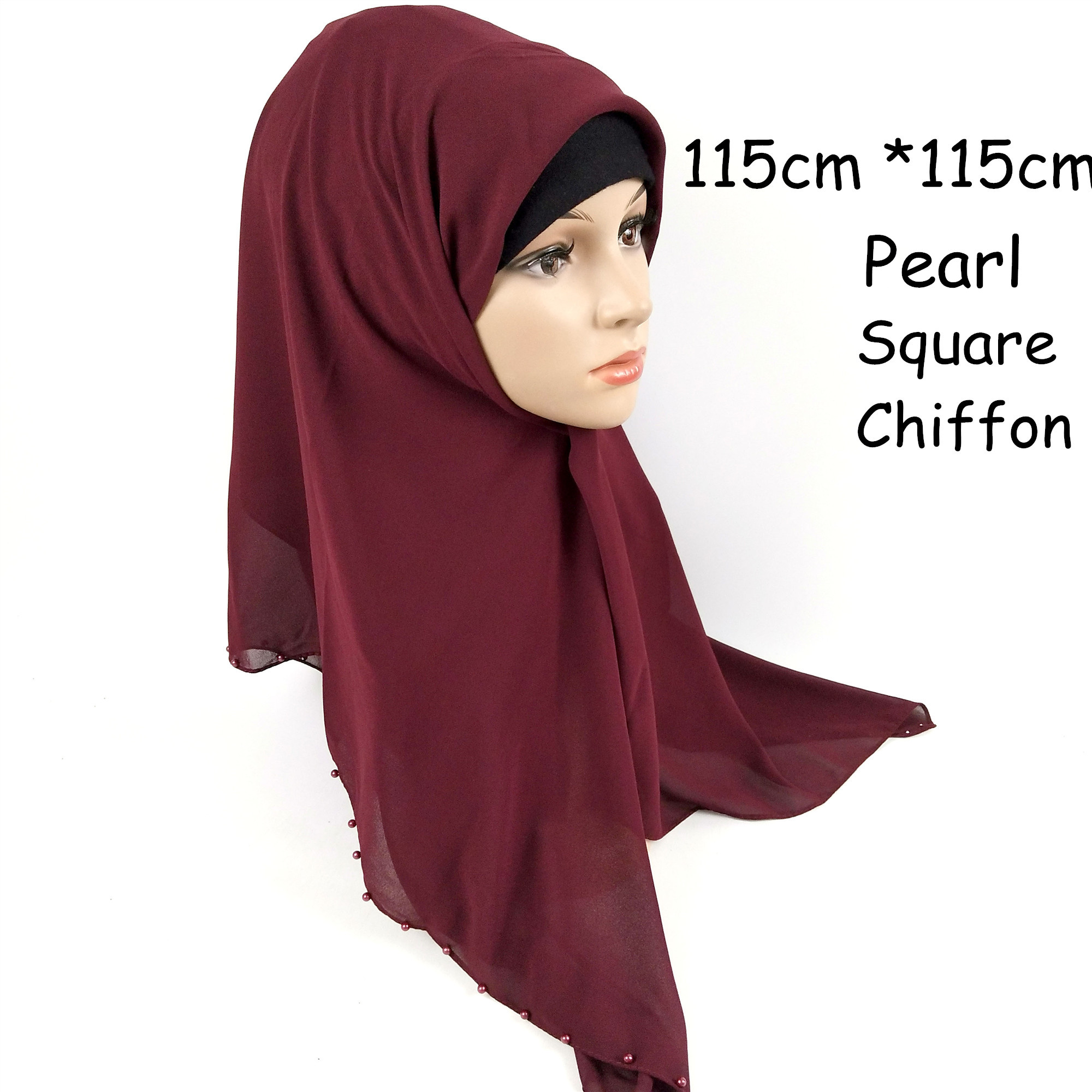 A8 High quality Pearl Square chiffon hijab   scarf   shawl 115 *115cm women   scarf  /  scarves     wrap   headband 10pcs/lot