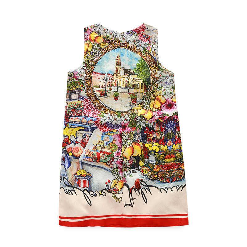 2017 Последний европейский и американский дизайн детская одежда Американский фруктов и цветов по оптовой цене платье без рукавов летние популярные модели