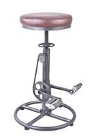 Vintage DIY Bar Stool PU Soft Seat Iron Pedal Retro Industrial Height Adjustable Bicycle Wheel Design Swivel Bar Chair