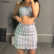 Nibber Women Light Blue Lattice Wrapped Chest And Short Skirt Two Piece Set Slee