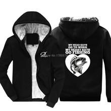 Śmieszne wędkarz bluza z kapturem rybak dzień ojca prezent bluza mężczyźni zagęścić bawełna bluza z kapturem zima moda kurtki topy tanie tanio demlfen Pełna REGULAR coat Wełna liner Bluzy zipper Akrylowe COTTON Na co dzień NONE Drukuj