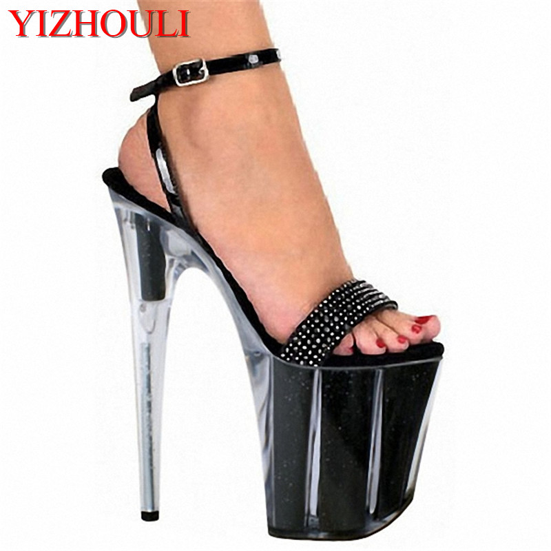 ca7e26095c0 US $82.0 |8 inch Unusual High Heel Shoes Platform Sandal with Rhinestone  Straps strappy sandals 20cm Fetish High Heel Shoes-in High Heels from Shoes  ...