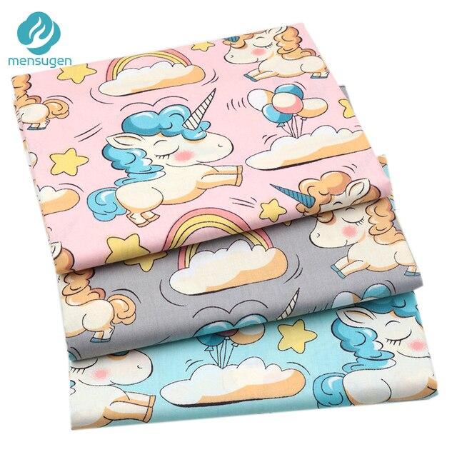 Mensugen Hồng Xám Unicorn Những Đám Mây Bông Mét Vải cho Quilting Crib Bumper May Vải Gối Tissue cho Dresses