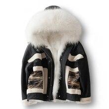 Winter Fur Parka Women Real Raccoon Fur Collar Natural Fox Fur Liner Hooded Jacket 2019 Fashion Womens Granular Wool Fur Coat
