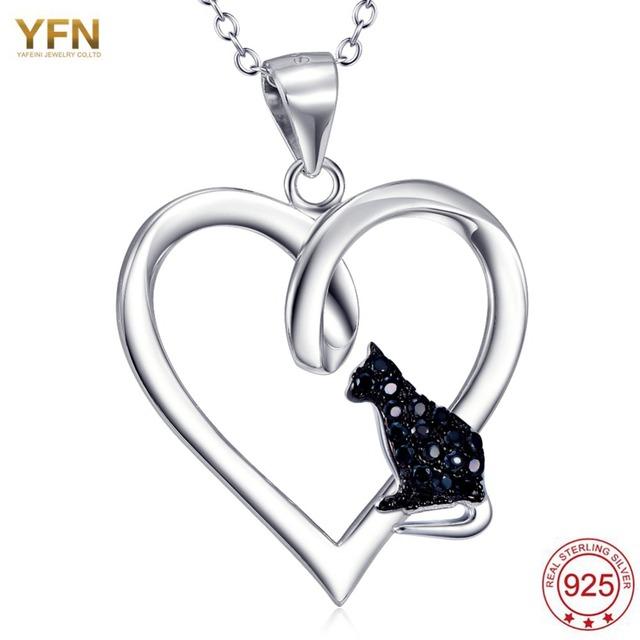 YFN Nuevo 925 Joyería de Plata Esterlina en Forma de Corazón de la CZ Colgante Gato Negro Caliente carboneros bijoux femme feminino colar Collar
