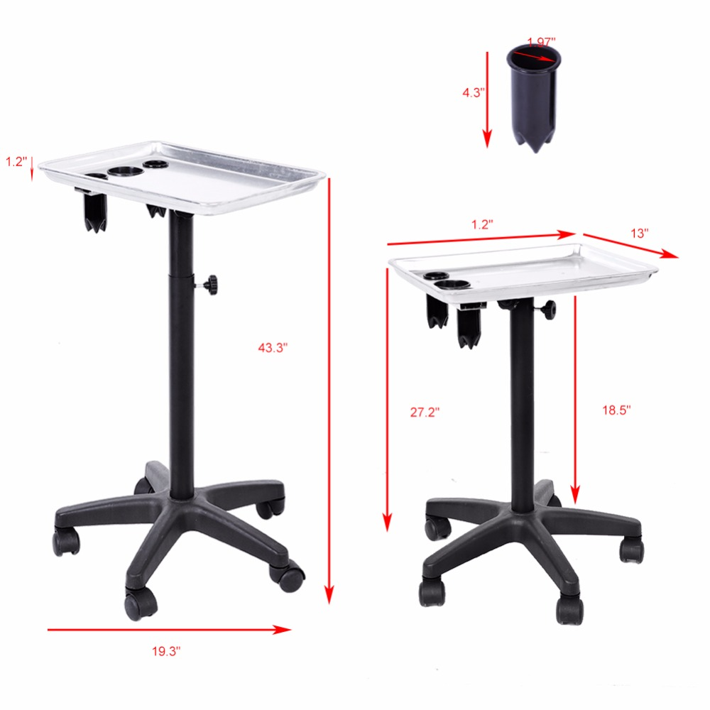 Multi-functional Aluminium Hair Salon Instrument Tray Adjustable Height Trolley Beauty Tray Tools Silver Hairdressing Equipment ship from usa portable height adjustable shampoo basin hair bowl salon treatment tool