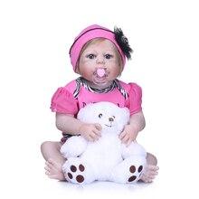 2018 new Boneca Reborn 22inch full Silicone Vinyl Dolls 55cm Soft Silicone Reborn Baby Doll Newborn Lifelike Bebe Reborn Dolls kawaii girl doll bebe reborn 22inch soft silicone reborn dolls 55cm lovely baby doll toys realistic lifelike newborn brinquedos