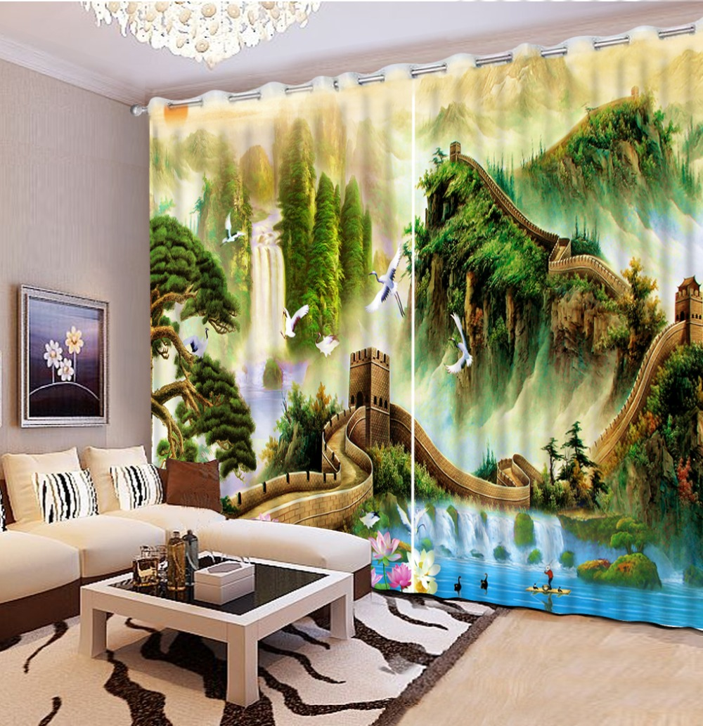 Chinese Great Wall Mountain Scenery print 3D Curtain Drapes For Bedroom Living Room Blackout Window Curtains with Grommets HooksChinese Great Wall Mountain Scenery print 3D Curtain Drapes For Bedroom Living Room Blackout Window Curtains with Grommets Hooks