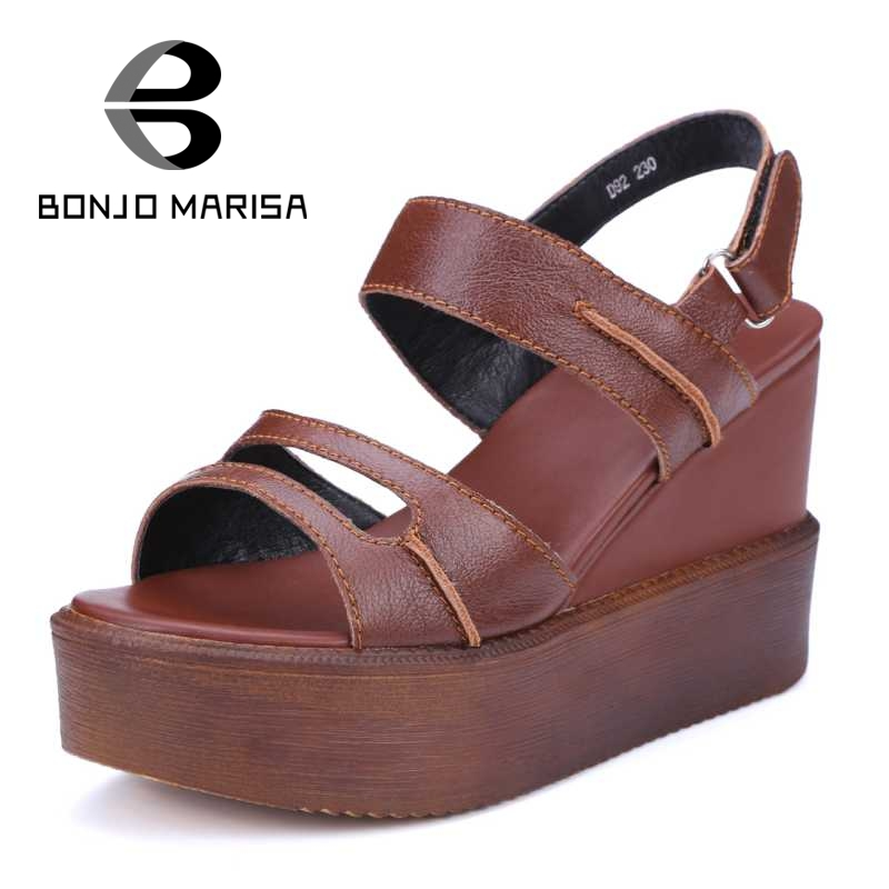 BONJOMARISA Classic New Women Shoes Fashion Casual Dress Summer Sandals Sexy High Heel Wedges Shoes Open