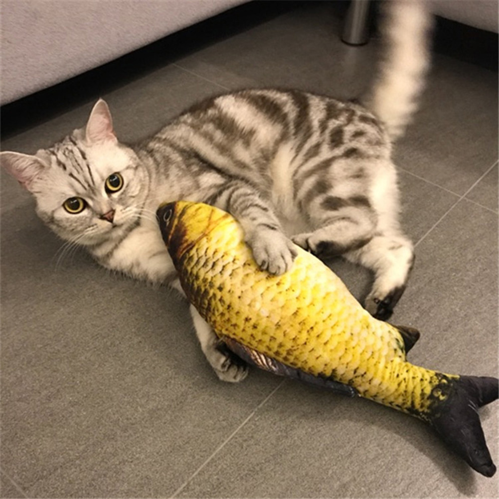 Mylazypet cat toys cute fish shape chewing toy simulation for Fish cat toy