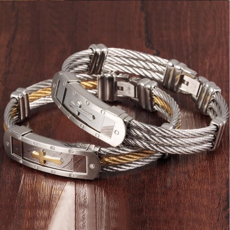 Wire Bracelets With Charms 2: New Stainless Steel Cross Bracelet Bangle For Men Gold