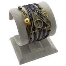 Harry Potter Deathly Hallows Snitch Wings Bracelet Imitation Pearl Black Woven Black Braid PU Leather Bracelet(China (Mainland))
