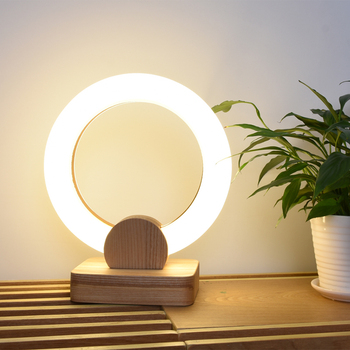 Abajour-Lámpara de mesa LED redonda, Base de madera, para quarto, estudio, escritorio,...