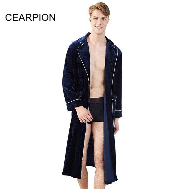 61f1142d9c CEARPION Winter Warm Men Robe Soft Velvet Kimono Barthrobe Gown Male Spa  Home Wear Casual Sleepwear Solid Color Nightwaer Robes