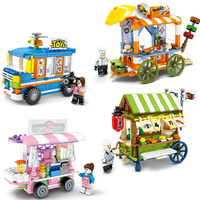 4in1 Town Street View Ice Cream Grill Cart Building Block Compatible Legoings City Friends Educational Bricks Toys for Children
