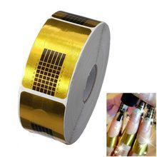 100 pcs Square Paper Golden Acrylic UV Gel Polish Stylish Professional Nail Art Tips Tool Extension Forms Guide Stickers French(China)