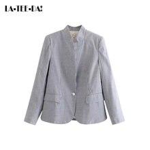 LTD1198214 2018 nuevo rayas Blazer mujeres abrigo entallado señora moda  manga larga OL solo botón Delgado Vestidos ec3ede47428f