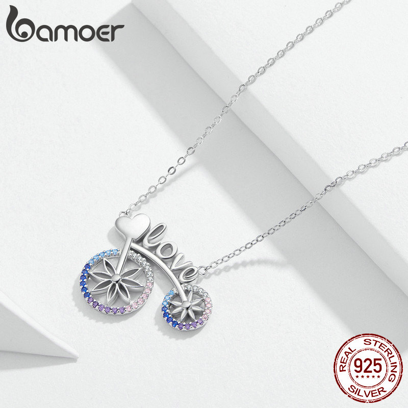 Image 3 - bamoer Romantic Love Bicycle Bike Necklace for Women Valentine's Gift 925 Sterling Silver Chain Short Necklaces Jewelry SCN336-in Pendant Necklaces from Jewelry & Accessories
