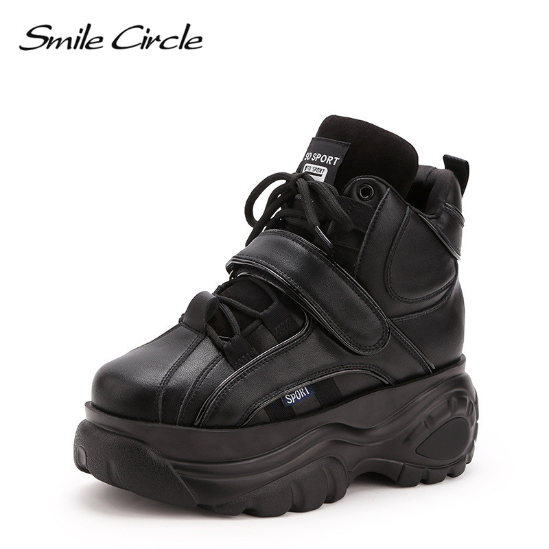 Smile Circle Chunky Sneakers platform Women fashion Lace up High top Wedge shoes For Women Winter