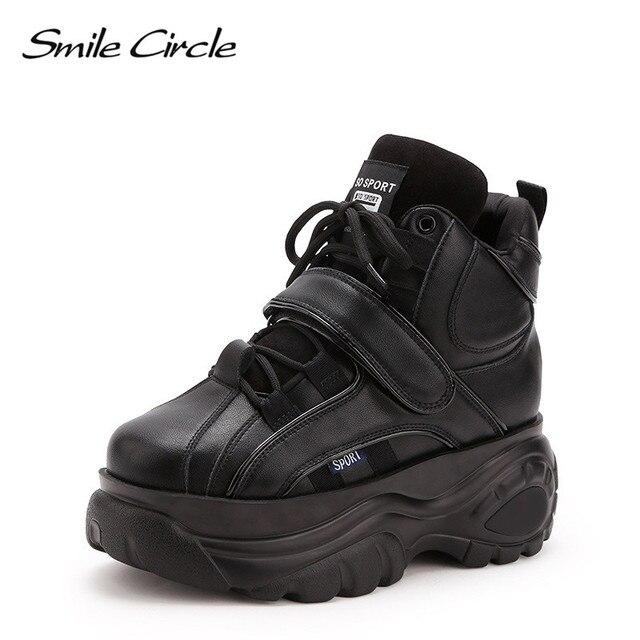ابتسامة دائرة مكتنزة أحذية رياضية منصة النساء أزياء من الدانتل متابعة عالية حذاء بكعب ويدج للنساء الشتاء سميكة أسفل إسفين أحذية رياضية