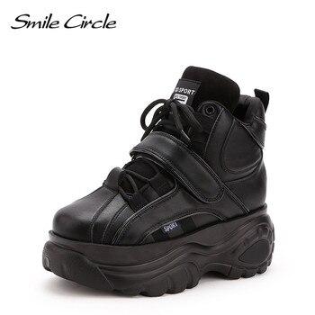 6fe7a9059 Sonrisa círculo grueso zapatillas de plataforma de las mujeres de encaje de  moda de-alto-top zapatos de cuña para mujeres de invierno de fondo grueso  ...