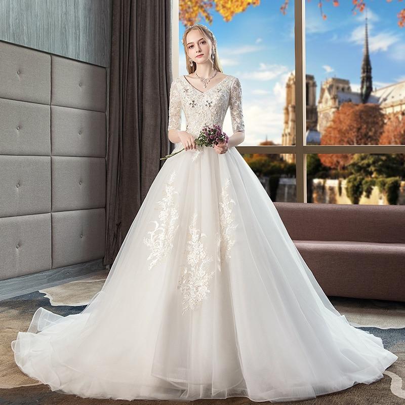 Vestido de Noiva 2019 Princess Wedding Dresses Half Sleeves Beads Embroidery Puffy Ball Gown Bridal Dress