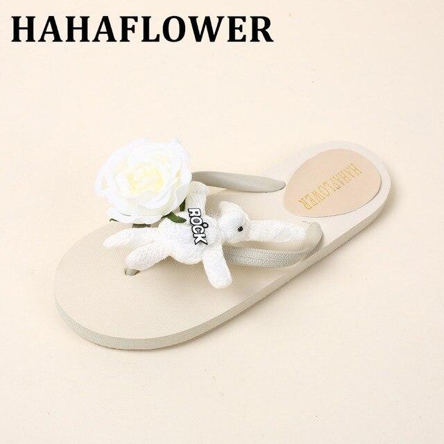 3df4a8afd45dd HAHAFLOWER2017 New White Rose rabbit flip-flops flat sandals women female  summer beach slippers and flip flops Free shipping A19