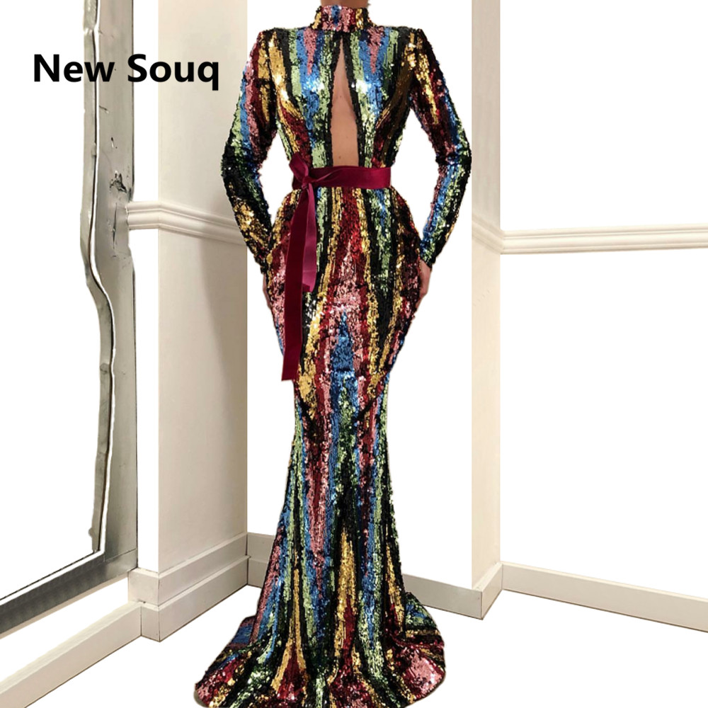 Unique Sequin Mermaid   Prom     Dresses   2019 High Neck Plunging Neckline Long Sleeves Evening   Dress   vestido gala robe de soiree