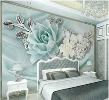 Home Decoration custom 3d photo wallpaper Peppermint green jewelry pearl oil painting flowers 3d stereoscopic wallpaper(China)