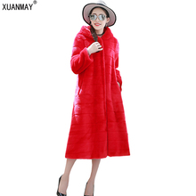 New Winter women imitation Fur Coat high imitation Rex Rabbit Fur coat large size S-6XL imitation fur long warm female coat