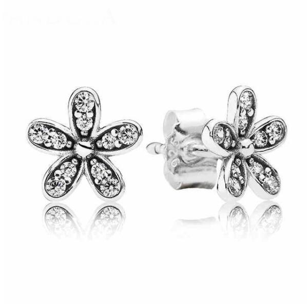 Authentic 925 Sterling Silver Pandora Earring Dazzling Daisy With Crystal Studs Earring For Women Wedding Gift Fine JewelryAuthentic 925 Sterling Silver Pandora Earring Dazzling Daisy With Crystal Studs Earring For Women Wedding Gift Fine Jewelry