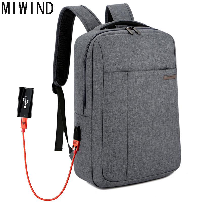 MIWIND Backpack Men Women USB Charge 15.6 16inch School Backpacks Laptop Waterproof Travel Bags Anti-theft Laptop Bag T TSM1163