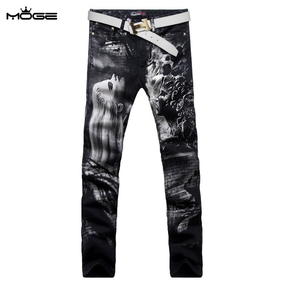 MOGE mens printed jeans fashion stretch jean slim men hip hop jeans pant vaqueros rasgados hombre