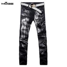 MOGE мужские печатных джинсы мода stretch жан тонкий мужчины хип-хоп джинсы брюки вакеро rasgados панталоне hombre hommes