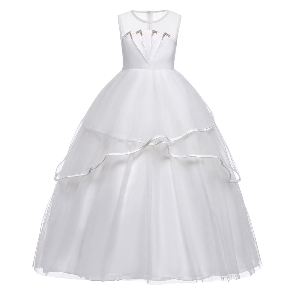 Original Kids Dresses For Girls Vest Ball Gown Princess Dress 2018 Fluffy Girls Dress girls peach print vest dress