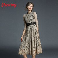 Peritiny Khaki Blue Dresses Women Stand Collar Patchwork Solid vestidos Retro roupa feminina New Year Spring A Line Lace Dress
