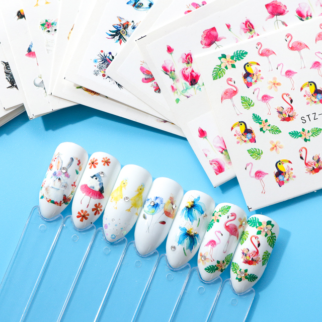 Animals and Flowers Patterned Nail Stickers Sheet