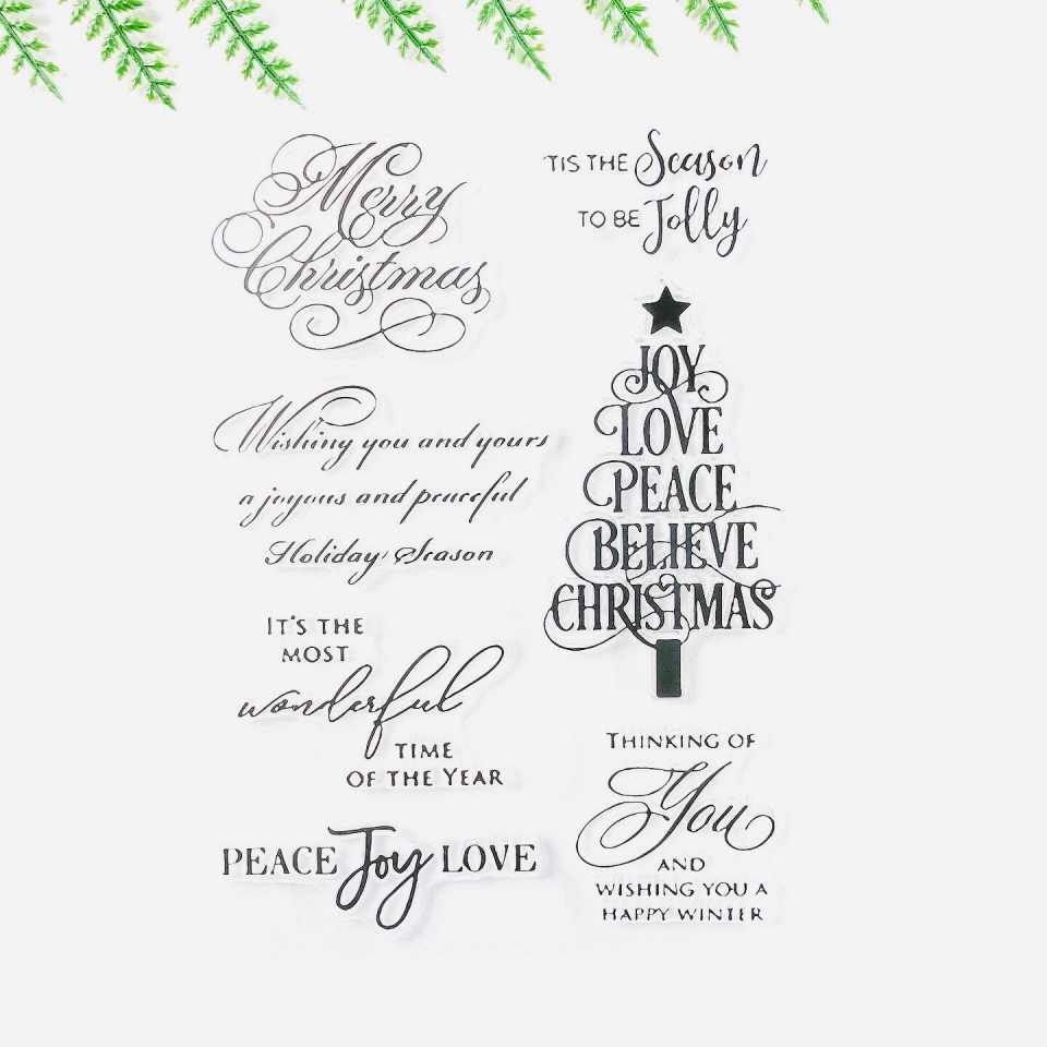 New Arrival Christmas Tree Card Making Transparent Clear Stamp Seal for DIY Scrapbooking Photo Album Decorative Sentiment Stamp