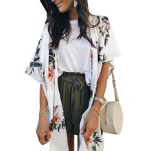 Women Beach Style Cardigan Kimono Ladies White Floral Print Summer Fashion Plus Size Sunscreen Shirts