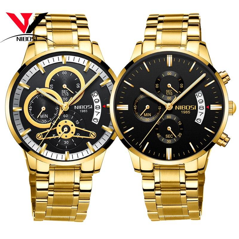 [Ship From Brazil] Relogio Masculino Dourado Men Watch 2018 Luxury Brand Waterproof Analog Quartz Watch For Men Original NIBOSI
