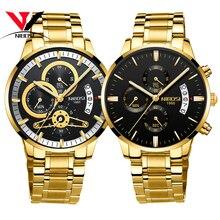 [Barco de Brasil] Relogio Masculino Dourado hombres reloj 2018 marca de lujo impermeable reloj de cuarzo analógico para hombres Original NIBOSI