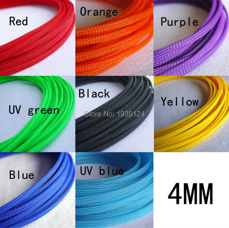 free shipping 50M 4mm Shielding Sheathing Auto Wire Harnessing Black Nylon Braided Cable Sleeving