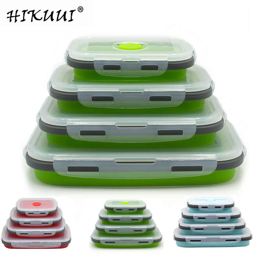 4 Pcs Silicone Lunch Box Portable Bowl Colorful Folding Food Container Lunchbox 350/500/800/1200ml Eco-Friendly