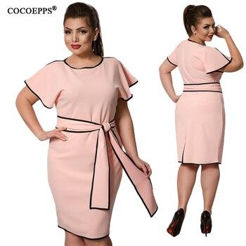 d9812dfe958f759 CANCUT 5XL 6XL 2019 плюс размер женские платья летние большие размеры s  элегантные короткие платья весенние офисные вечерние платья с поясом  vestidos