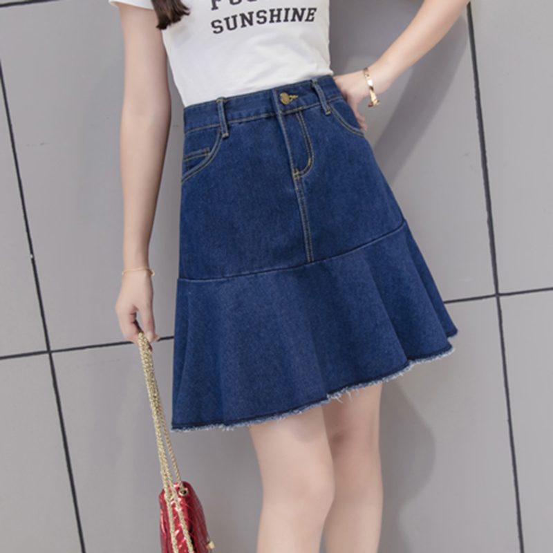 S-5XL Plus Size Skirt Harajuku Casual Pockets Patchwork Blue Denim Skirt Jeans Simple Chic Young Mini 2019 Summer Skirts Womens