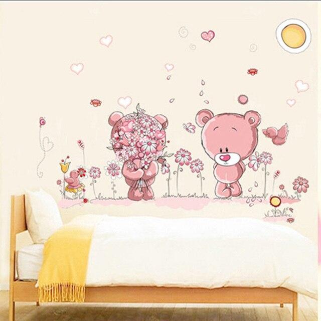 lovely cartoon bear wall stickers children room home decor kids