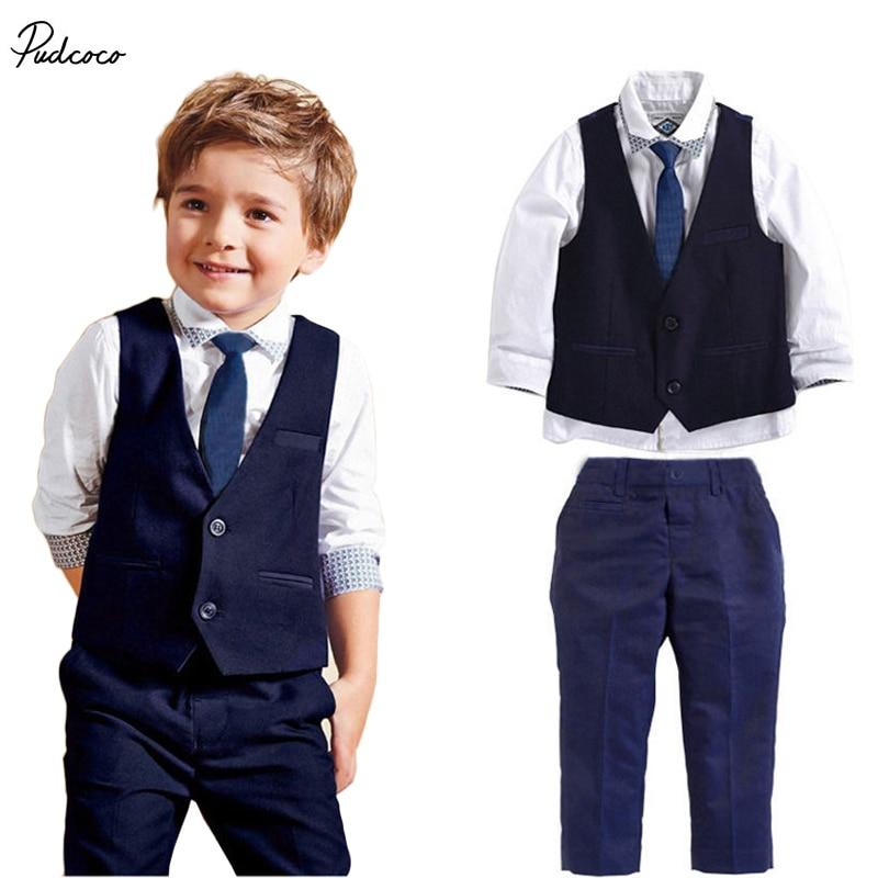 2017 3pcs set autumn children's leisure clothing sets baby boy suit vest gentleman clothes for weddings formal clothing Suit